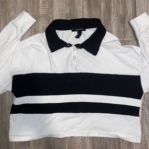 White and black forever 21 polo crop top
